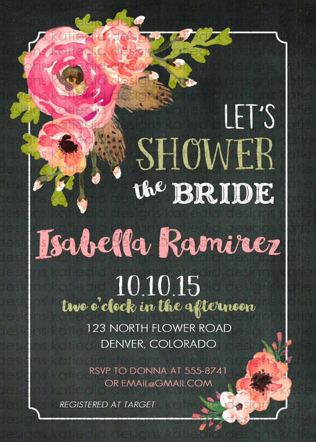 Couples Bridal Invitation Traveling from Miss to Mrs floral chic ...