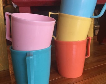 Set of 5 retro PASTEL plastic cups CAMPING camper glamping picnics kids play dishes BOATING