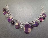 Purple Tartan Charm Bracelet from Scotland with Multicolor Tartan Charms and Glass Beads, Scottish Clan Jewelry, Highland Dance