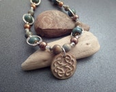 Celtic Knot Necklace, Scottish Jewelry, Irish Jewelry, Blue and Brown Earth Colors Beaded Necklace