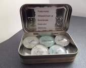 Scottish Funny Word Magnets From Scotland Set of 5 in a Tin, Glass Marble Fridge Magnets