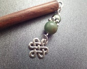 Wood Hair Stick with Celtic knot Charm and Green Beads, Chop Stick Bun Accessory