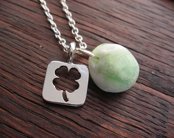 Four Leaf Clover Lucky Scottish Sea Glass Necklace with Rare Green Marble