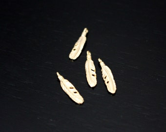 Jewelry Supplies, Matte Gold Tarnish Resistant Small Leaf Branch pendants, leaf connectors, 2 pc H617973