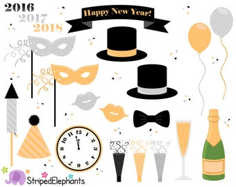 New Year's Eve Clip Art - Party Clip Art - Instant Download - Commercial Use