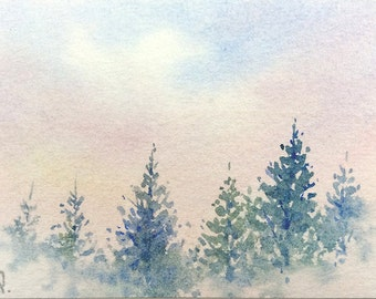 Original ACEO watercolor painting - The memory of pines
