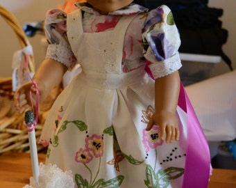 American girl doll clothes A walk in the park floral dress pink purple apron vintage pillow case parasol