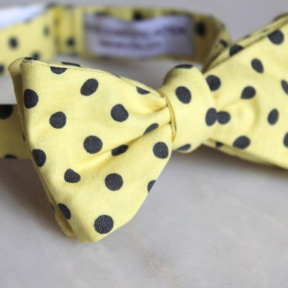 Bowtie in Yellow with Charcoal Polka Dots - Groomsmen and wedding tie - clip on, pre-tied with strap or self tying