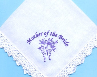 60% Discount : Mother of the Bride Screenprinted Crocheted Gift Hanky with Purple Wedding Bells Print- 1 only