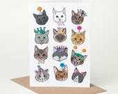 Cat Card (cat birthday card, cat congratulations card, cat celebration card, cat good luck card, ginger, tabby, black, white, grey)