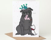 Tipsy Black Pug Card (pug birthday card, pug congratulations card, pug celebration card, alcohol, wine, red wine, tattoo, tattooed, funny)