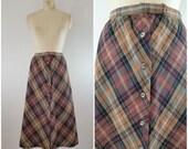 70s Plaid Wool Skirt / Midi / A-line Plaid Skirt / Vintage 1970s Skirt / Small Medium