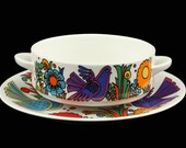 Retro 60s Villeroy and Boch Acapulco Cream Soup Cup & Saucer Set.. Designed by Christine Reuter in 1967.. Made in Luxembourg