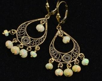 Ethiopian Opal Earrings Filigree Victorian Earrings  Gemstone Earrings