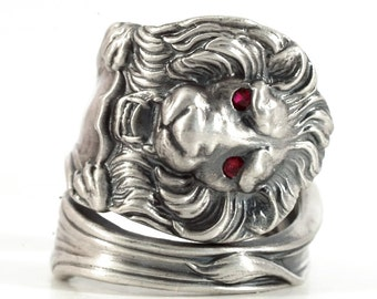 Victorian Lion Ring, Sterling Silver Spoon Ring, Red Ruby Ring, Red Sapphire Ring, Wild Animal Ring, Big Cats, Adjustable Ring Size (1195)