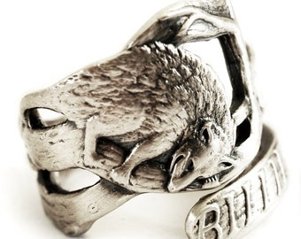 Awesome Possum Ring, Sterling Silver Spoon Ring, Silver Animal Ring, Woodland Animal, Animal Lover Gift, Opposum Ring, Adjustable Ring (662)