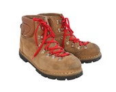 Vintage Colorado Suede Leather Mountaineering Hiking Boots Red Laces Vibram Soles Size 11, Made In Italy