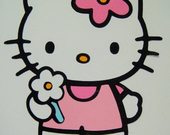 Hello Kitty With Flower One Piece Paper Die Cut Paper Doll Scrapbook Embellishment