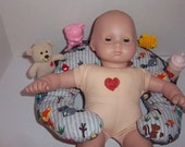 SALE - Babysitter Pillow, Baby Doll Prop Pillow, unisex fabric,  suitable for dolls such as bitty baby, stuffed animals