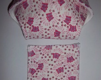 Baby Doll Diaper/wipe - pink and purple butterflies, flowers - See Shop Special - adjustable for many dolls such as bitty baby