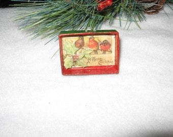 Birds on a branch, Mini Shadow Box Christmas Ornament. Handmade.