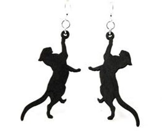 Cat Being Playful - Wood Earrings