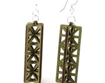 Structural 3D Rectangles - Laser Cut Earrings from Sustainable Resources