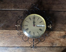 Vintage French fleurs de lis black gold wall clock day date circa 1970/80's / English Shop