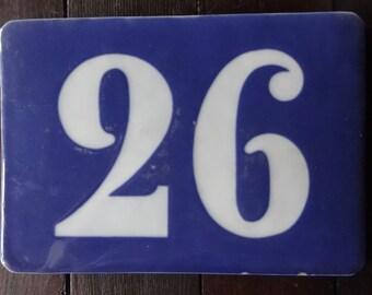 Vintage French Large Ceramic House Number 26 Twenty Six Sign House Warming Gift circa 1940-60's / English Shop
