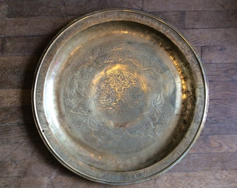 Vintage oriental extra large brass serving table floor tray circa 1930-40's / English Shop