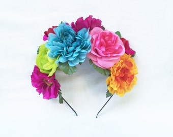 Mexican Flower Crown, Flower Crown, Day of the Dead, Frida Kahlo, Floral Crown, Mexican Headpiece, Mexican Flower Headband, Flower Crown