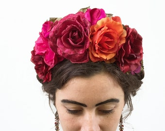 Frida Kahlo Flower Crown, Frida Kahlo, Frida Flower Crown, Fiesta, Flower Headpiece, Day of the Dead Headpiece, Mexican Flower Crown, Frida