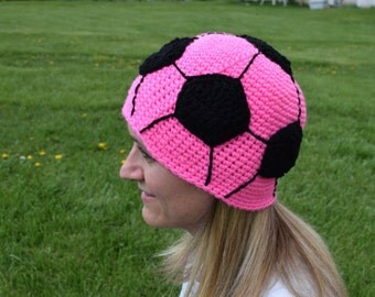 hot pink soccer hat//women//teenager//10 year old//crochet//22 inches