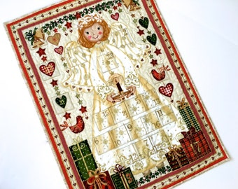 Quilted Advent Calendar  Angel Wall Hanging   Heirloom Childrens Activity Panel  Christmas Count Down Quilt  Fiber Art Holiday Decor Quilted