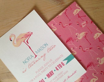 PRINTED Flamingo Invitations, lot of 25