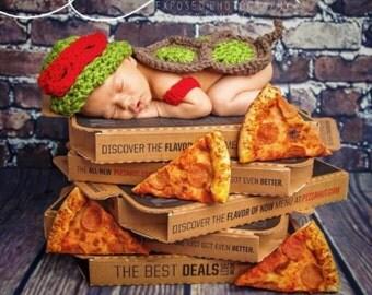 Crochet baby ninja turtle cape, newborn prop, newborn photography prop tmnt prop, tmnt costume, teenage mutant ninja turtle baby shower gift