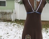 """Upcycled dress """"Dream On"""", dream catcher, hand embroidered, lace, brown, eco, hippie, boho, OOAK"""