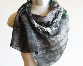 printed silk scarf,  hand painted scarves by 88editions, grey urban accessory