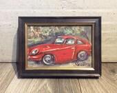 Red Car Painting Old Car Citroen Art Framed