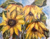 """Sunflowers Painting Original floral painting 8 x10"""""""