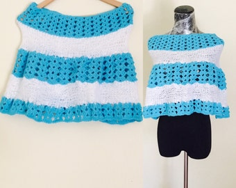 White & Turquoise Poncho, Crochet, Knitted, Hand Made in the U S A, Item No. DeBg09