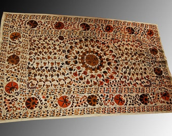 Silk handmade embroidery flowers modern Suzani wall hanging decor Bukhara region