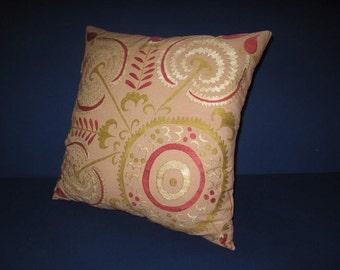 """Beautiful handmade Tadjikistan Lakay pattern flowers suzani embroidered Suzani Pillow Cover original silk 18.5""""x18.5"""" inch"""