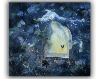 Mystic art, fantasy landscape, giclee print on canvas, blue, shining bird, spirit, dream, gate, dawn, fairytale, psychology, religion, piety