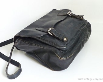 Vintage Briefcase Laptop Bag Black Leather Bag Distressed