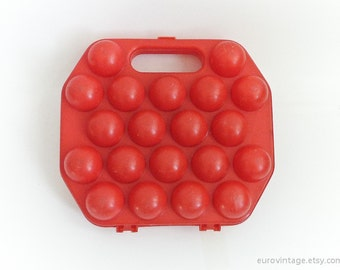 Vintage Egg Basket Plastic Egg Box Red Plastic 20 eggs