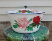Large Floral Enamel Pot With Lid Rustic Shabby Farmhouse Decor Vintage Stockpot