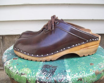 Vintage Brown Leather Troentorps Clogs Size 7.5  Euro 38 UK 5.5