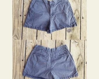 Vtg 90s American Eagle High Waist Cheeky Grey Blue Prep Shorts