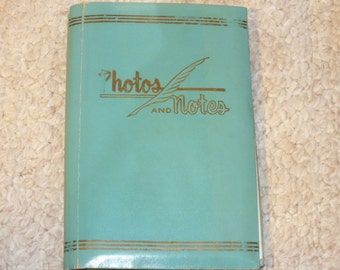 Vintage Photos and Notes Photo Album, Aqua and Gold in color, made in Japan